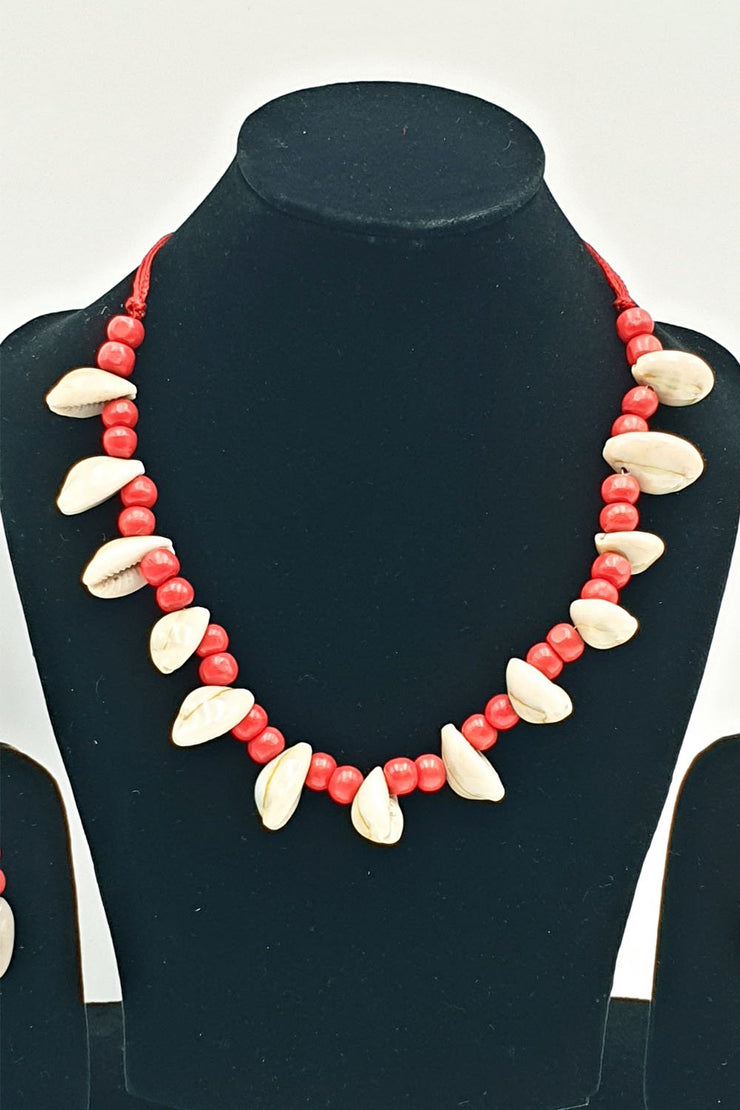 Indian Artizans - Red and White Traditional Handmade Bhuj Jewellery Set