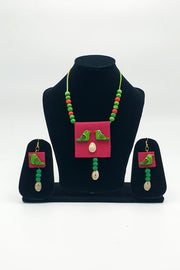 Indian Artizans - Maroon Handmade Traditional Bhuj Jewellery Set With Parrots