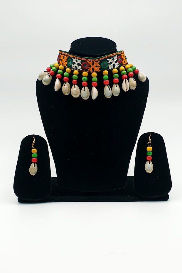 Indian Artizans - Green Traditional Handmade Bhuj Choker Jewellery Set