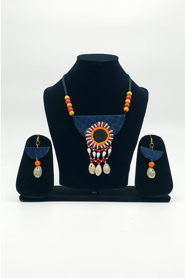 Indian Artizans - Deep Blue Handmade Traditional Bhuj Jewellery Set