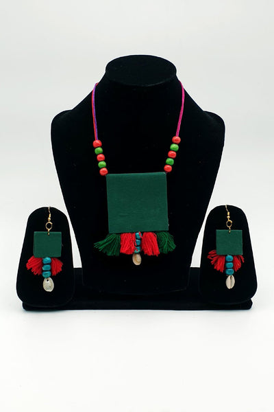 Indian Artizans - Bottle Green Traditional Handmade Bhuj Jewellery Set