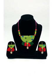 Indian Artizans - Green Handmade Traditional Bhuj Jewellery Set
