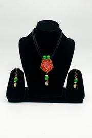 Indian Artizans - Red Traditional Handmade Bhuj Jewellery Set