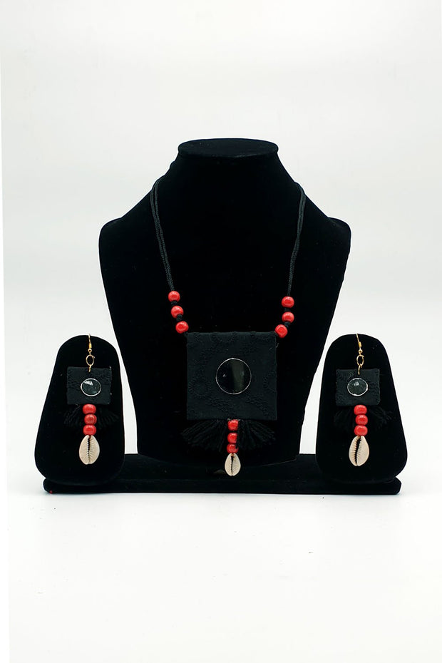 Indian Artizans - Black Handmade Traditional Bhuj Jewellery Set