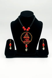Indian Artizans - Red and Black Traditional Handmade Bhuj Jewellery Set