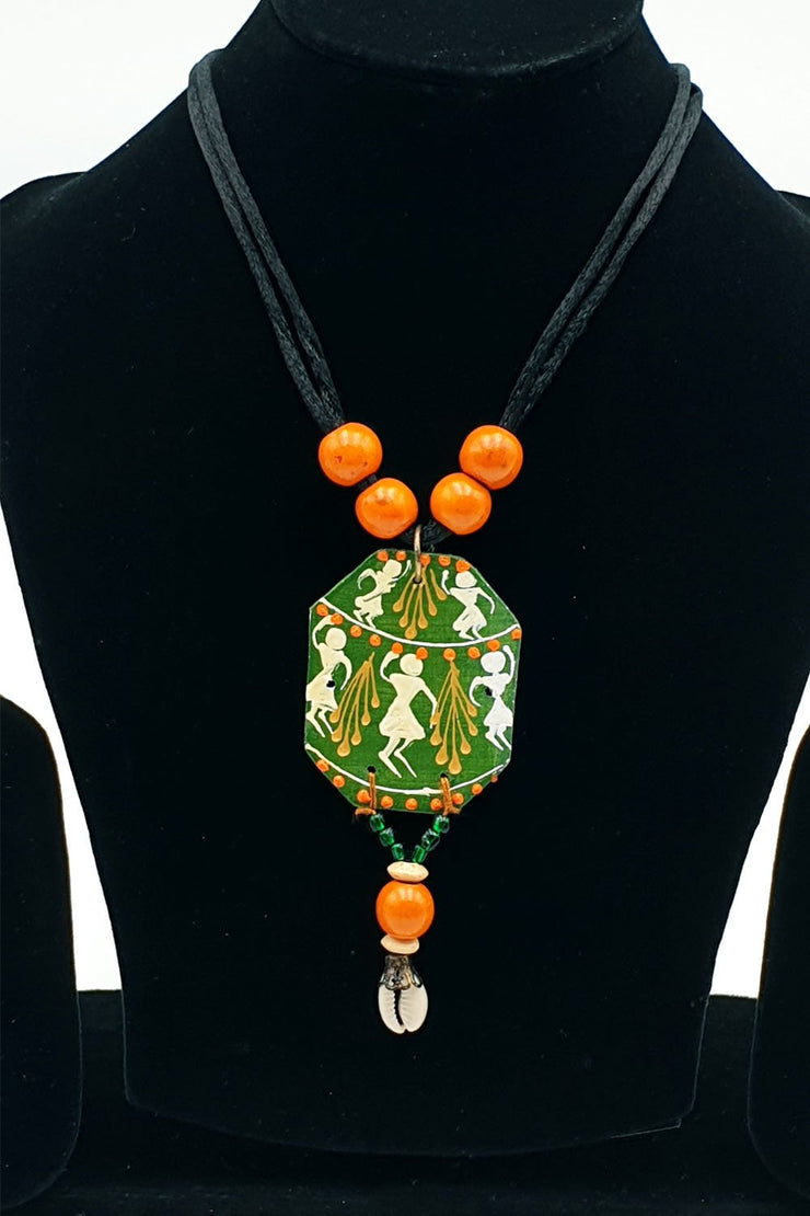 Indian Artizans - Green Warli Traditional Handmade Bhuj Jewellery Set