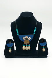Indian Artizans - Peacock Blue Traditional Handmade Bhuj Jewellery Set