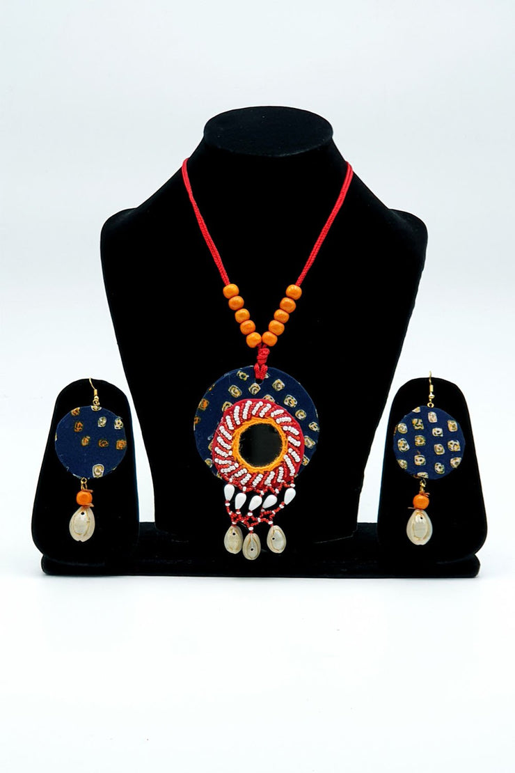 Indian Artizans - Deep Blue Traditional Handmade Bhuj Jewellery Set