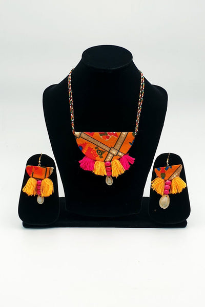 Indian Artizans - Orange Traditional Handmade Bhuj Jewellery Set