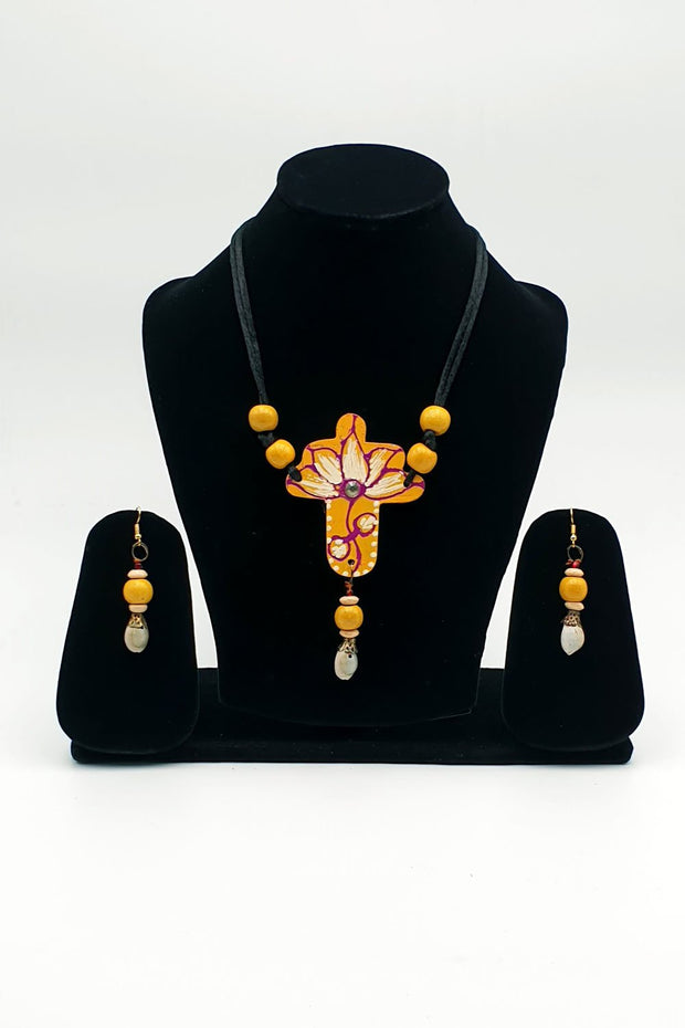 Indian Artizans - Mustard Traditional Handmade Bhuj Jewellery Set