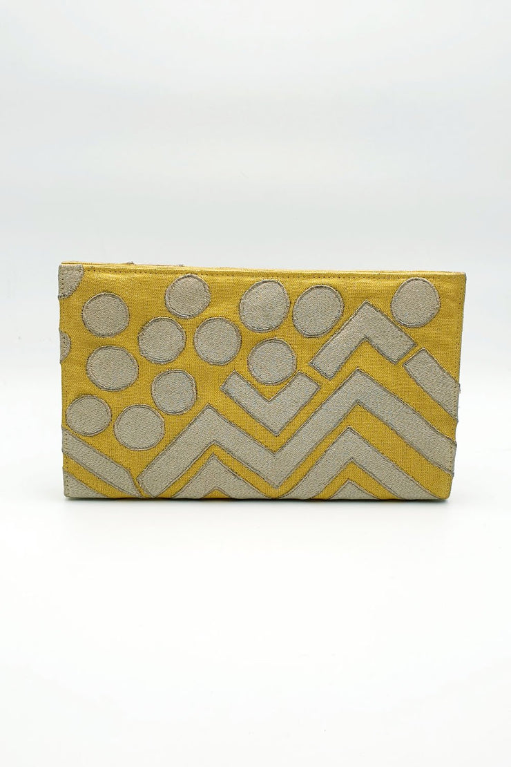Indian Artizans - Yellow Embroidery Clutch