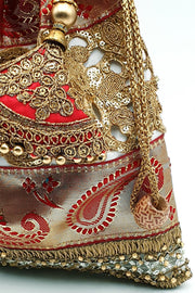 Indian Artizans - White Full Brocade Potli