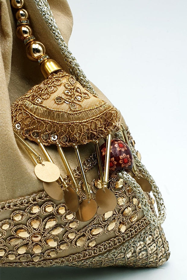 Indian Artizans - Gold Half Brocade Potli