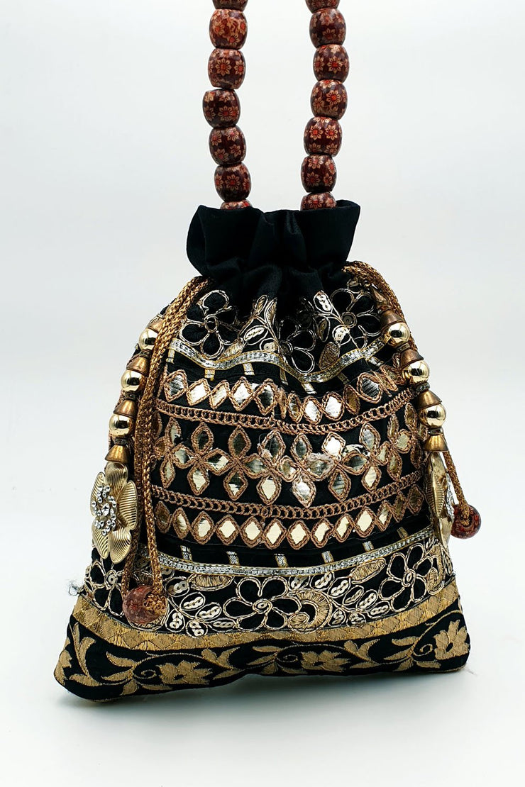 Indian Artizans - Black Full Brocade Potli