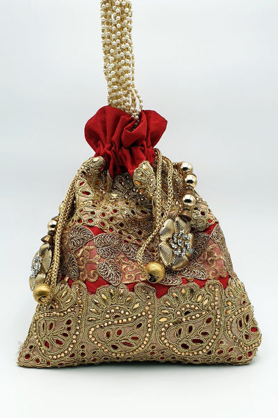 Indian Artizans - Red Full Brocade Potli