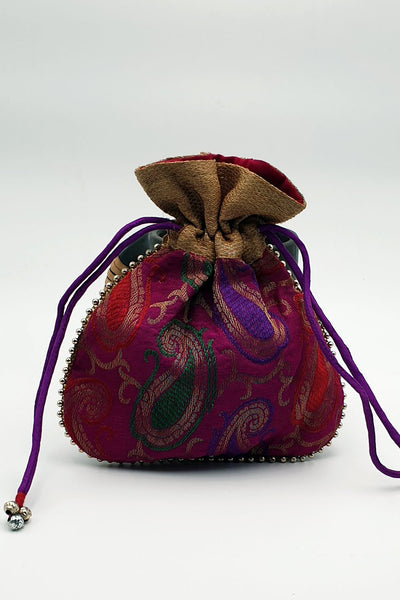 Indian Artizans - Purple Brocade Potli