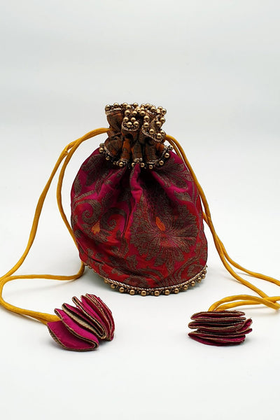 Indian Artizans - Magenta Brocade Potli