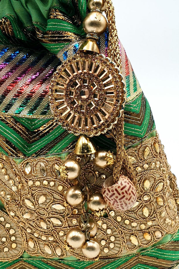 Indian Artizans - Green Full Brocade Potli