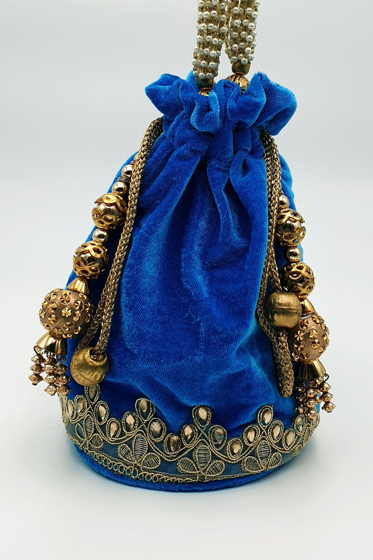 Indian Artizans - Blue Velvet Round Bottom Potli