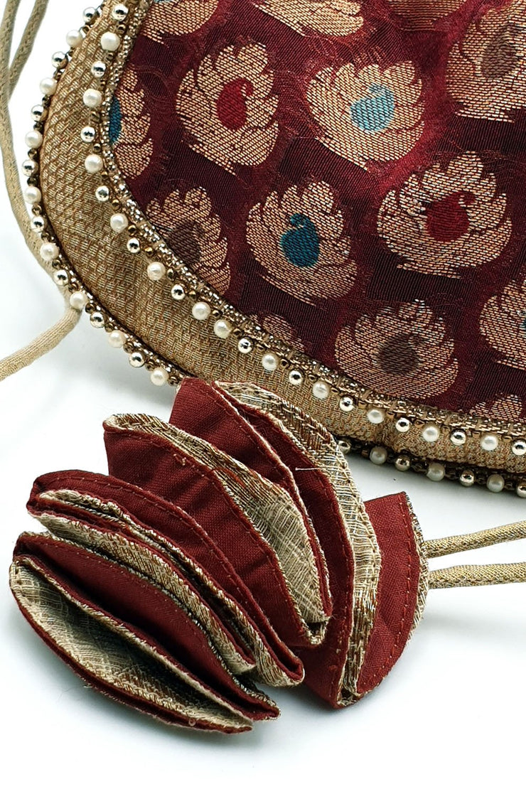Indian Artizans - Maroon Brocade Potli