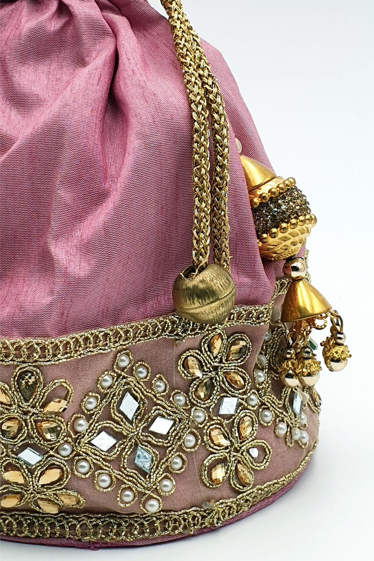 Indian Artizans - Pink Round Bottom Potli
