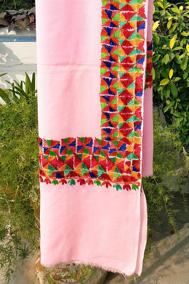 Indian Artizans - Pink Paschmina Hand Embroidered Phulkari Shawl