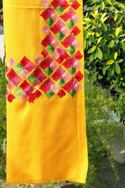 Indian Artizans - Yellow Paschmina Hand Embroidered Phulkari Shawl