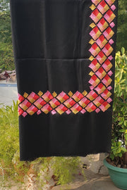 Indian Artizans - Black Paschmina Hand Embroidered Phulkari Shawl