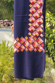 Indian Artizans - Navy Blue Paschmina Hand Embroidered Phulkari Shawl