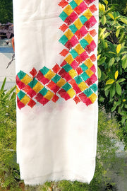 Indian Artizans - Off White Paschmina Hand Embroidered Phulkari Shawl