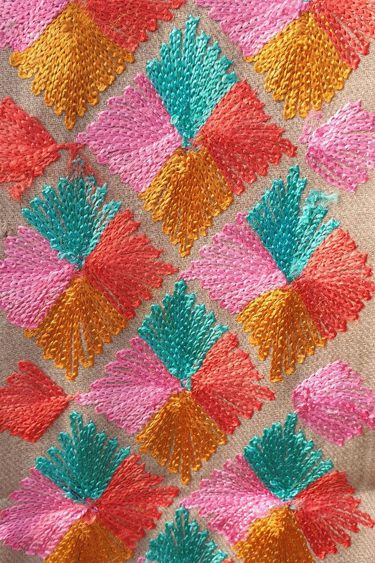 Indian Artizans - Beige Paschmina Hand Embroidered Phulkari Shawl