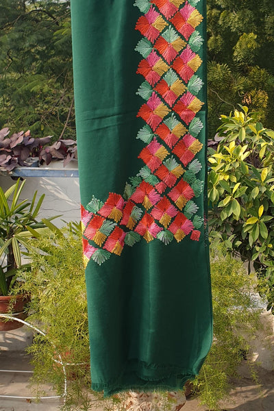 Indian Artizans - Bottle Green Paschmina Hand Embroidered Phulkari Shawl