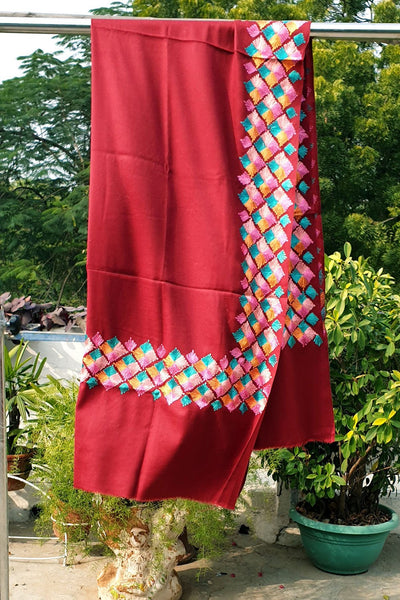 Indian Artizans - Maroon Paschmina Hand Embroidered Phulkari Shawl