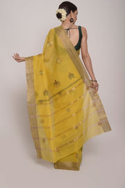 Shop Online for Mustard Handcrafted Cotton Kasuti Saree | Indian Artizans