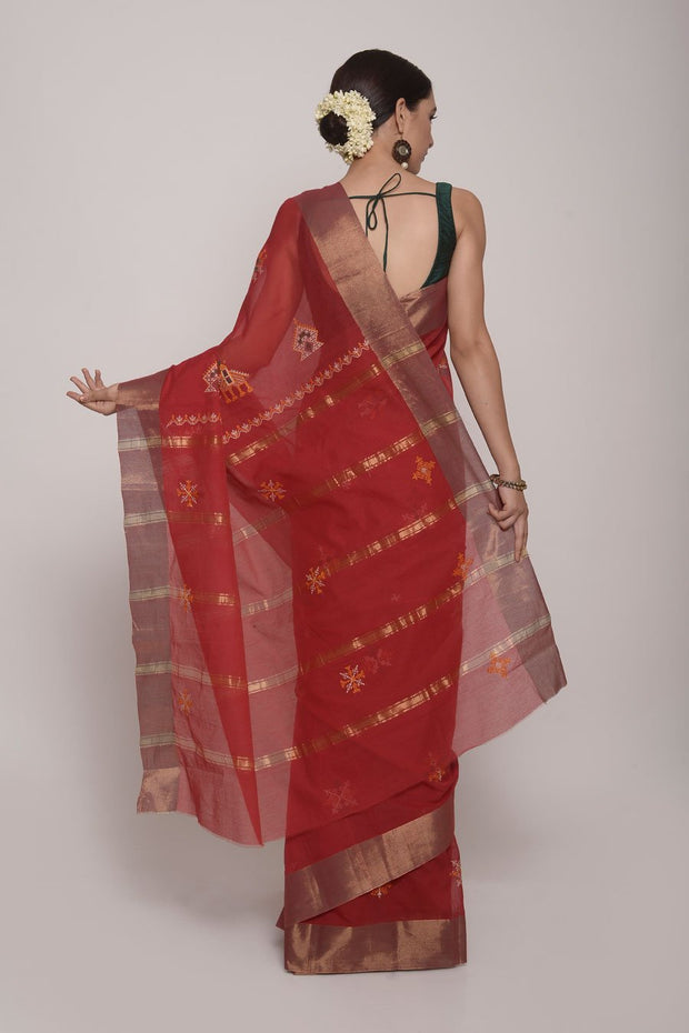 Shop Online for Red Handcrafted Cotton Kasuti Saree | Indian Artizans