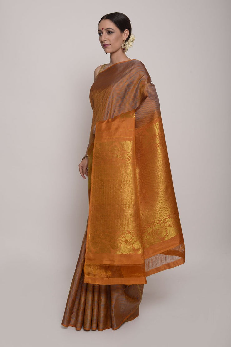 Shop Online for Mustard Kanjeevaram Silk Saree | Indian Artizans