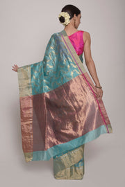 Shop Online for Turquoise Chanderi Silk Saree | Indian Artizans