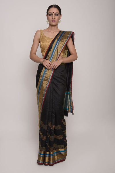Shop Online for Black Chanderi Silk Saree | Indian Artizans