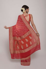 Shop Online for Red Bandhej Georgette Saree | Indian Artizans
