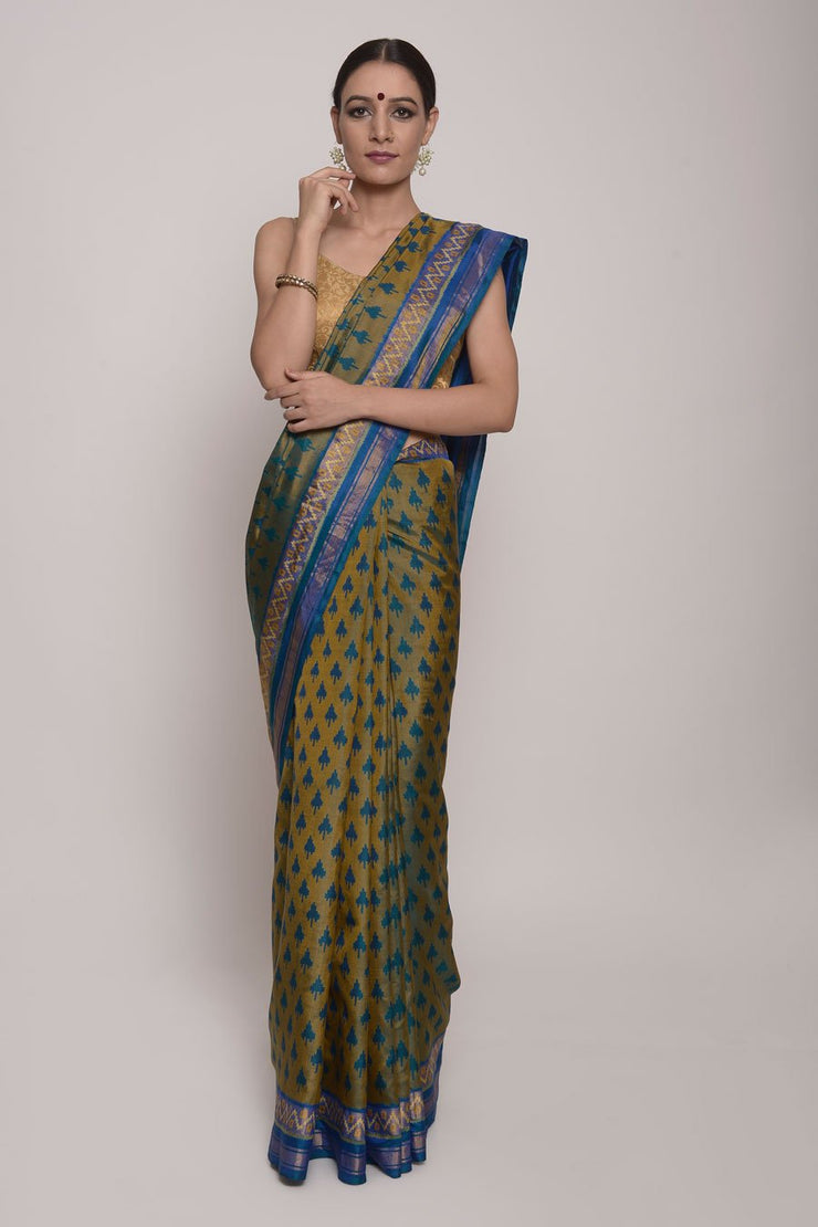 Shop Online for Bottle Green Patola Silk Saree | Indian Artizans