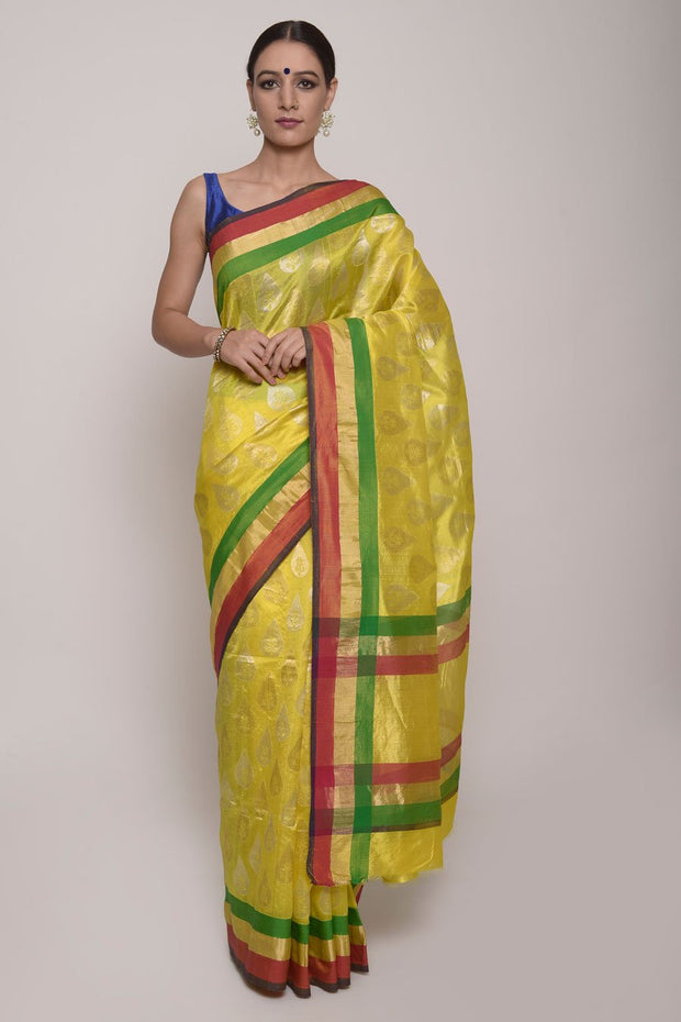 Shop Online for Yellow Chanderi Silk Saree | Indian Artizans