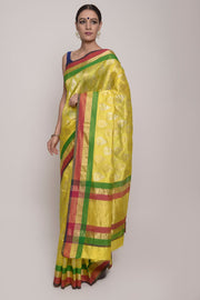 Yellow Chanderi Silk Saree