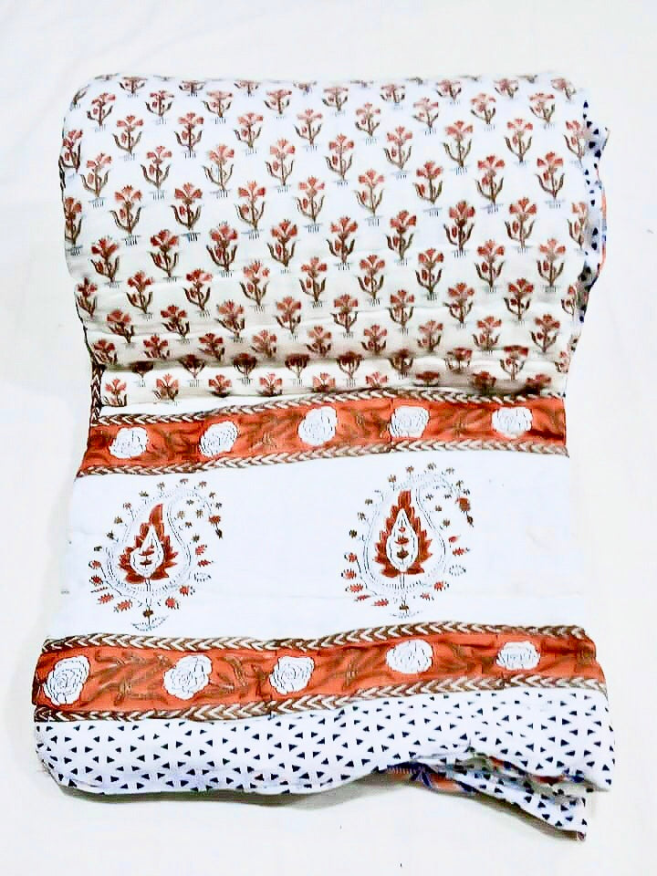 Block Printed Quilt for Single Beds