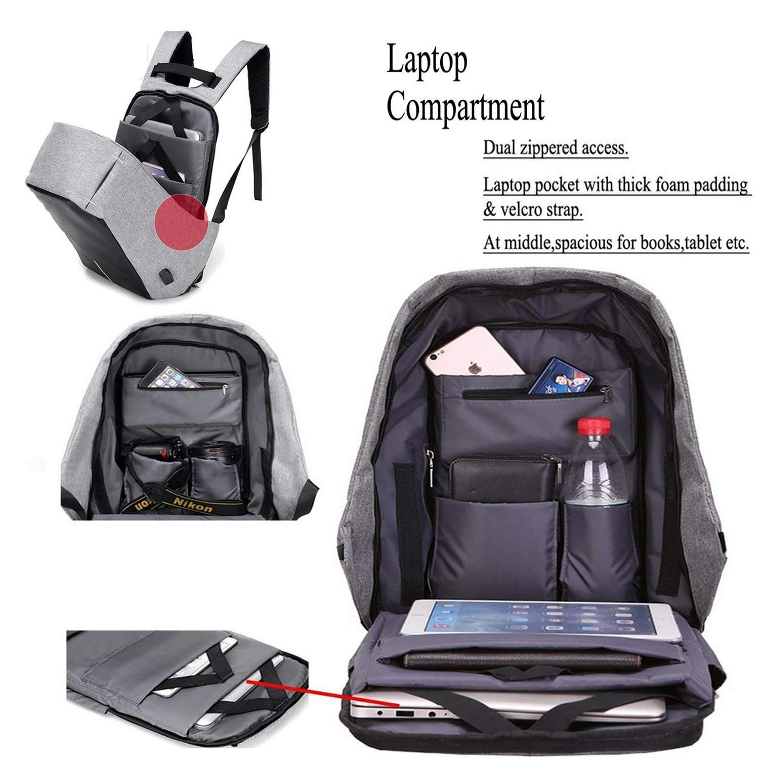 Anti Theft Backpack Laptop Bag Imported With Usb Port Big Punch Notebook Protector