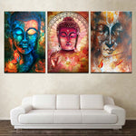 Vintage 3 Pieces Abstract Buddha