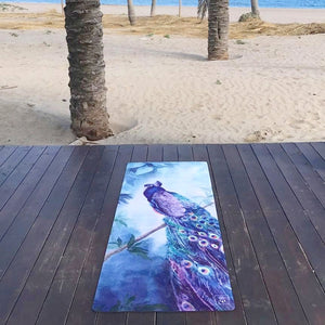 Spirited Peacock | Natural Rubber Yoga Mat | Vegan Suede Surface