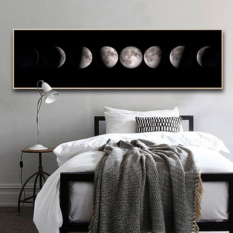 Black And White Moon Phase Poster