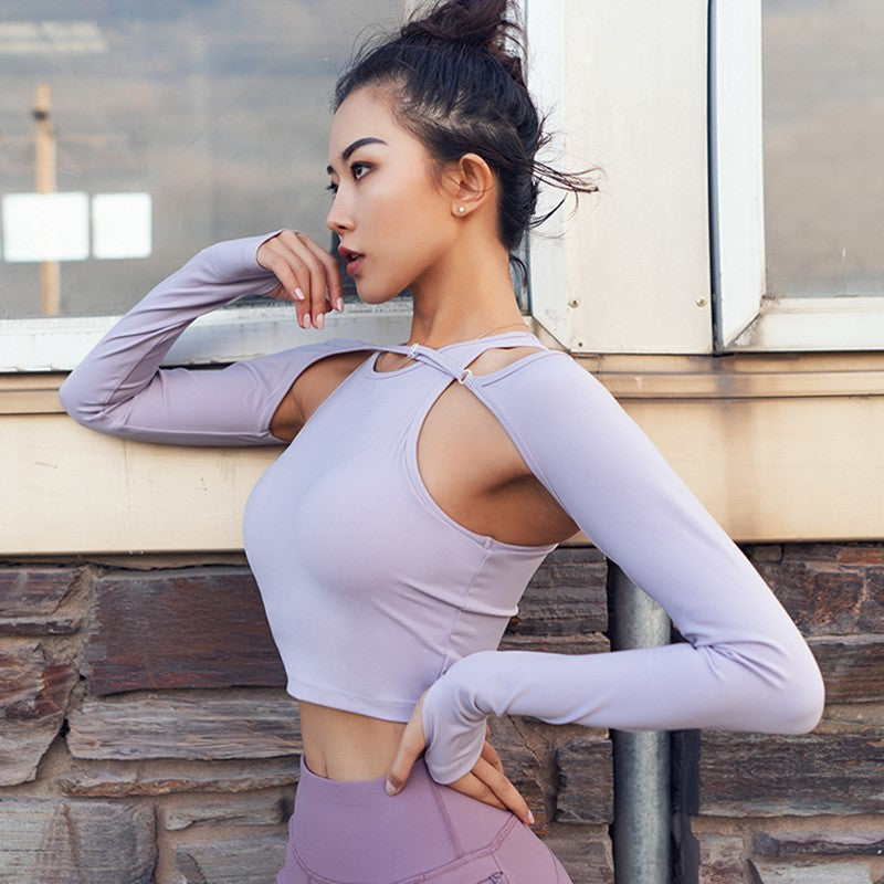 Two-Piece Long Sleeve Cover Yoga Top