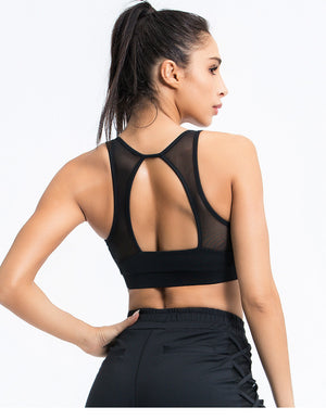 Mesh Detail Open Back Yoga Top
