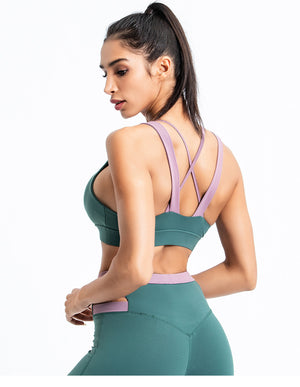 Duo Colour Strap Detail Yoga Bra